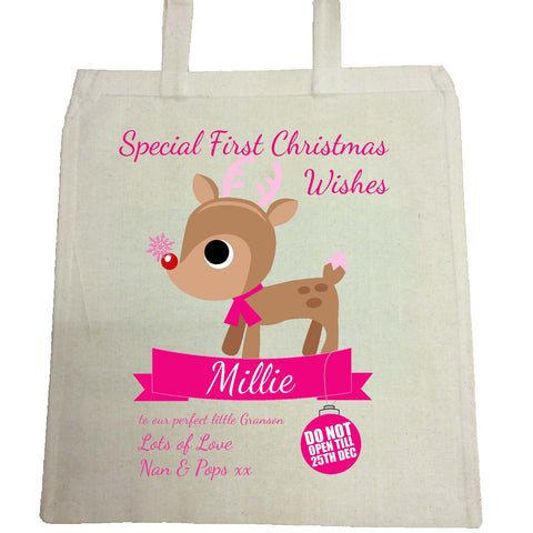 SS10 - Special First Christmas Wishes Cute Reindeer Personalised Bag for Life for Boys and Girls