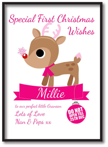 SS10 - Special First Christmas Wishes Cute Reindeer Personalised Print for Boys and Girls.