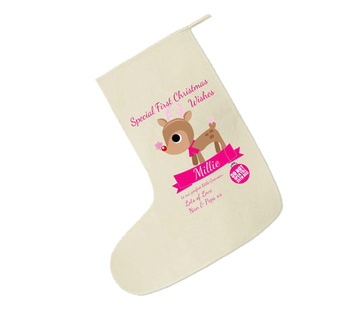 SS10 - Special First Christmas Wishes Cute Reindeer Personalised Canvas Stocking for Boys and Girls