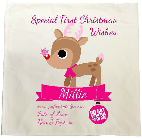 SS10 - Special First Christmas Wishes Cute Reindeer Personalised Tea Towel for Boys and Girls