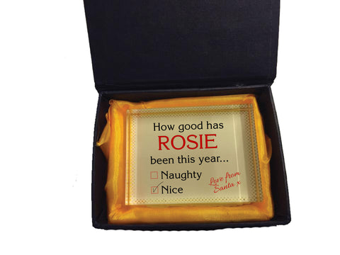 SS12 - How Good Has Name Been? Naughty/Nice Christmas Personalised Crystal Block & Gift Box