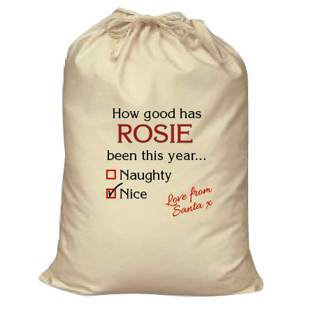 SS12 - How Good Has (Name) Been? Naughty or Nice Christmas Personalised Canvas Santa Sack