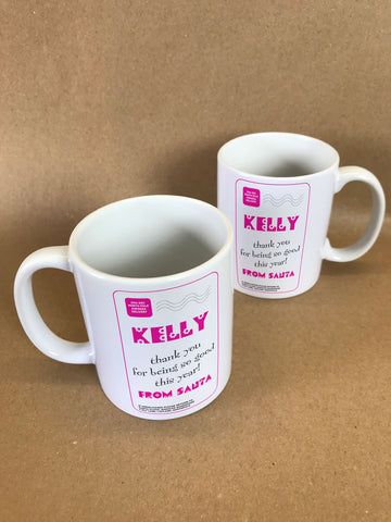 SS13 - Name Thank You for Being Good Personalised Christmas Girls Mug & White Gift Box