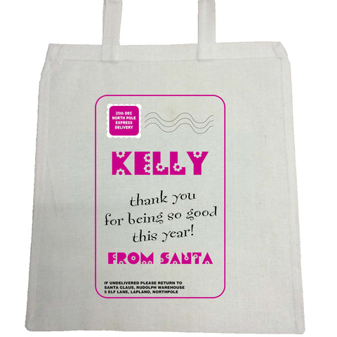 SS13 - Name Thank You for Being Good Personalised Christmas Girls Canvas Bag for Life