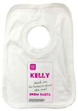 SS13 - Name Thank You for Being Good Personalised Christmas Girls Baby Bib