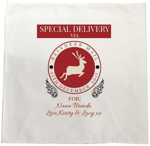 SS14 - Special Delivery Via Reindeer Mail Solid Colour Personalised Christmas Tea Towel