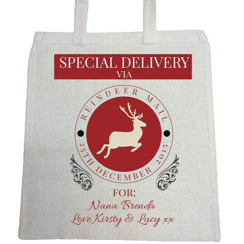 SS14 - Special Delivery Via Reindeer Mail Solid Colour Personalised Christmas Canvas Bag for Life
