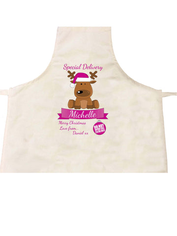SS15 - Special Delivery Santa's Reindeer Personalised Christmas Pink Apron