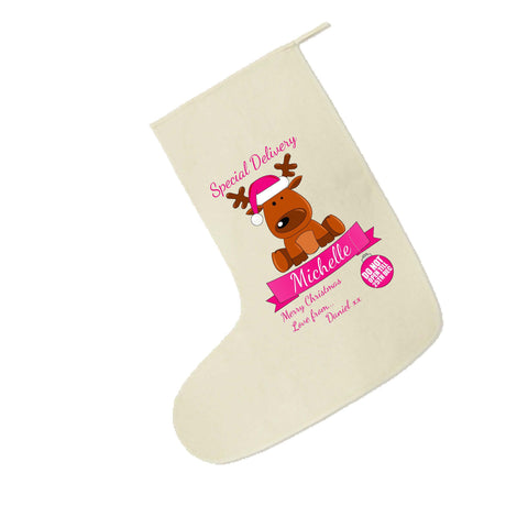 SS15- Special Delivery Santa's Reindeer Personalised Christmas Pink Canvas Santa Stocking