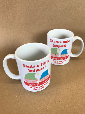 SS18 - Personalised Santa's Little Helpers with Children's Names in Red Christmas Mug & White Box