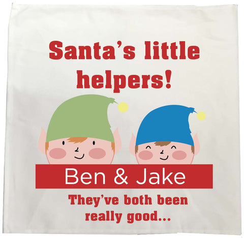 SS18 - Personalised Christmas Santa's Little Helpers with Children's Names in Red Tea Towel