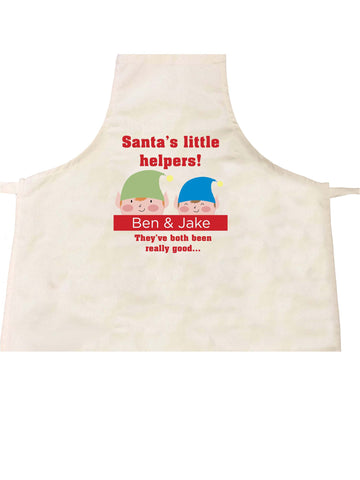 SS18 - Personalised Christmas Santa's Little Helpers with Children's Names in Red Apron