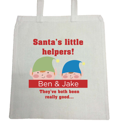 SS18 - Personalised Christmas Santa's Little Helpers with Children's Names in Red Bag for Life
