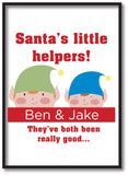 SS18 - Personalised Christmas Santa's Little Helpers with Children's Names in Red Canvas Print