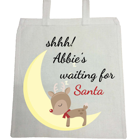 SS20 - Shhh! (Name) is waiting for Santa Personalised Christmas Canvas Bag for Life