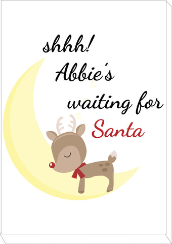 SS20 - Shhh! (Name) is waiting for Santa Personalised Christmas Canvas Print