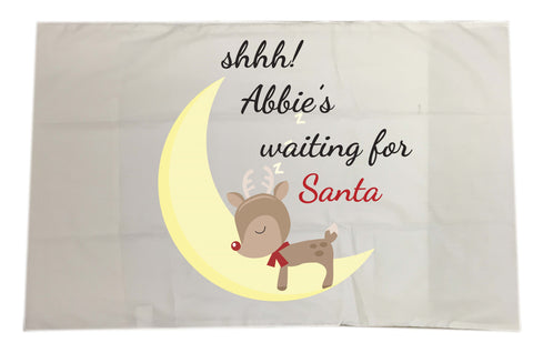 SS20 - Shhh! (Name) is waiting for Santa Personalised Christmas White Pillow Case Cover