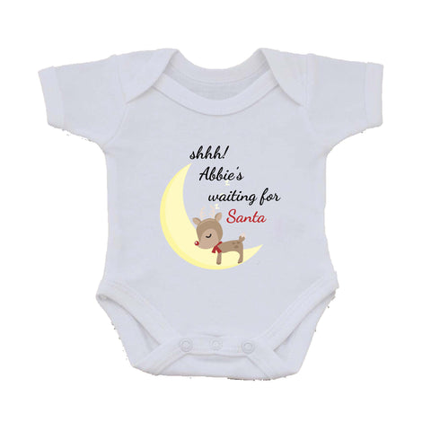 SS20 - Shhh! (Name) is waiting for Santa Personalised Christmas Baby Vest
