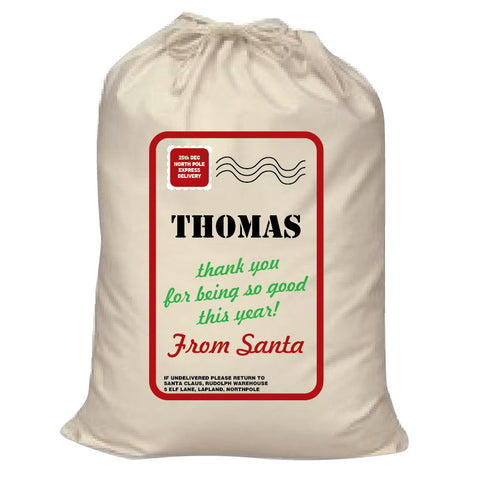 SS03 - Name Thank You for Being Good Personalised Christmas Canvas Santa Sack