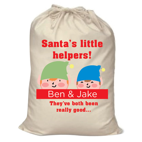 SS18 - Personalised Christmas Santa's Little Helpers with Children's Names in Red Santa Sack