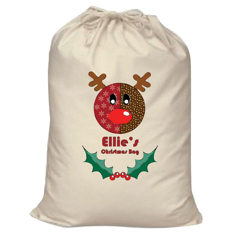 Stitched Reindeer Personalised Christmas Canvas Santa Sack