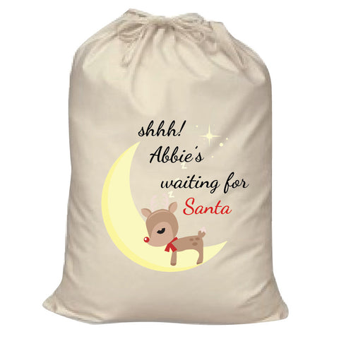 SS20 - Shhh! (Name) is waiting for Santa Canvas Personalised Christmas Santa Sack