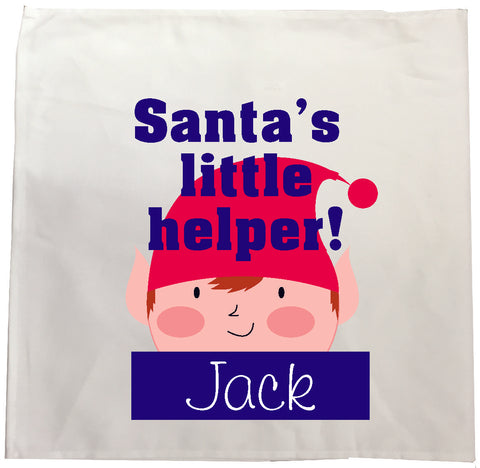 BB15 - Christmas Personalised Santa's Little Helper Tea Towel
