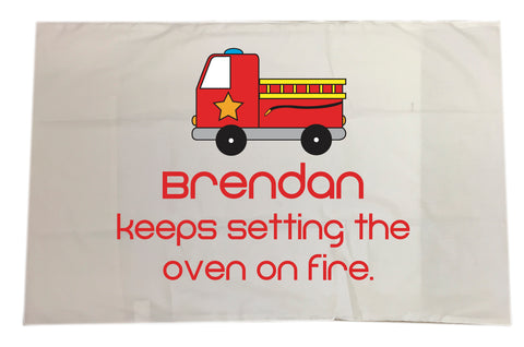 CA09 - Fire Engine White Pillow Case Cover