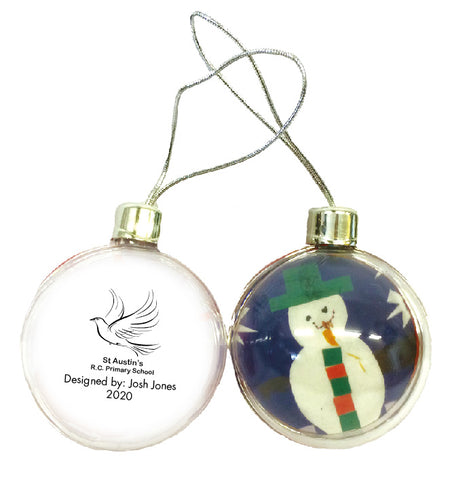 St Austin's R.C. Primary School Personalised Bauble with Child's Drawing