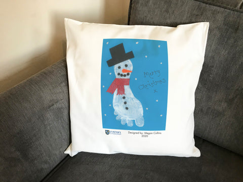 St Peters C of E School Personalised Cushion Cover with Child's Drawing