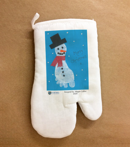 St Peters C of E School Personalised Oven Glove with Child's Drawing