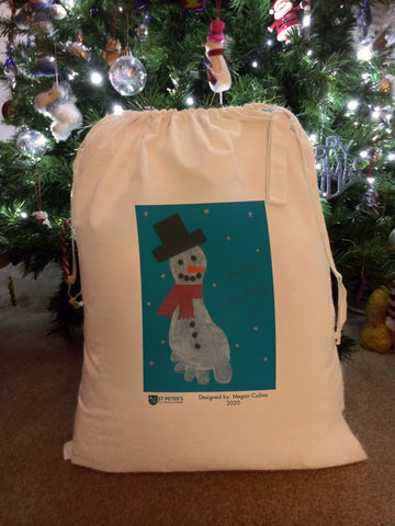 St Peters C of E School Personalised Santa Sack with Child's Drawing