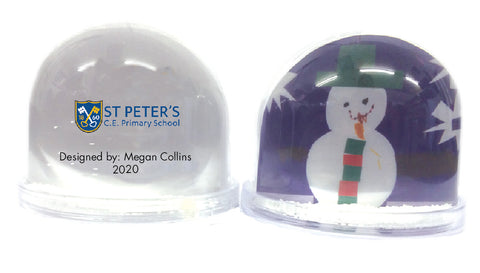St Peters C of E School Personalised Snow Globe with Child's Drawing