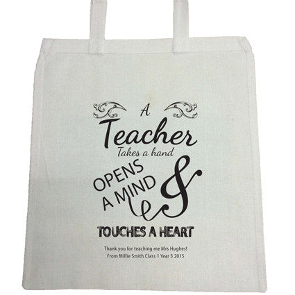 TG01 - Teacher Opens Minds & Touches Hearts Canvas Bag for Life
