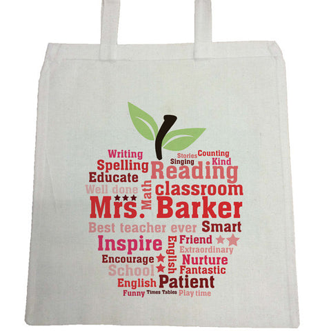 TG03 - Teachers Gifts Apple Word Art Canvas Bag for Life