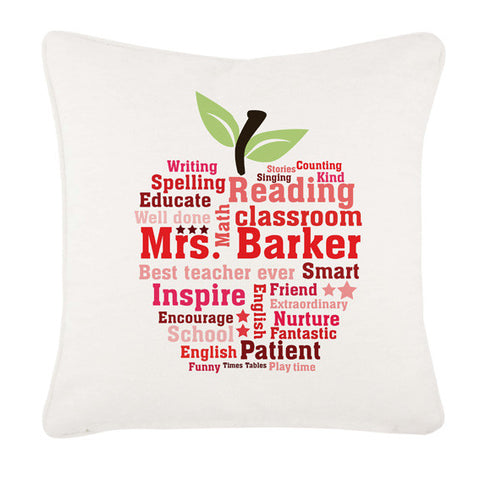 Teachers Gifts Apple Word Art Cushion Cover