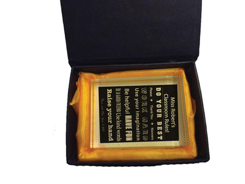 TG04 - Classroom Rules Crystal Block with Presentation Gift Box