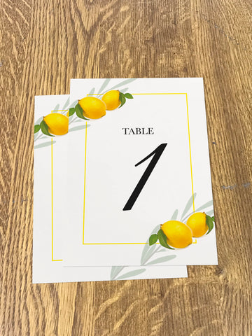 WD14 - Personalised Wedding Fresh Lemon Table Numbers