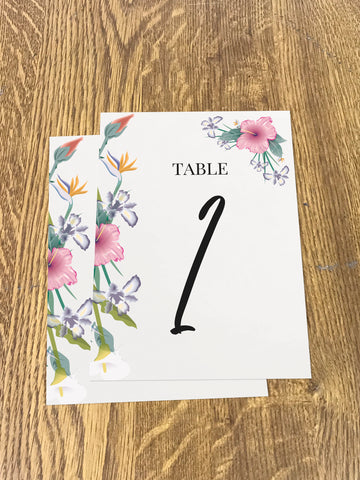 WD15 - Personalised Wedding Flowers Table Numbers