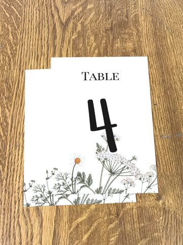 WD11 - Personalised Wedding Floral Table Numbers