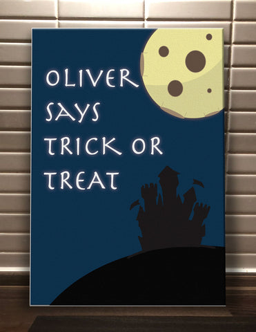 Full Moon Trick or Treat Personalised Halloween Canvas Print