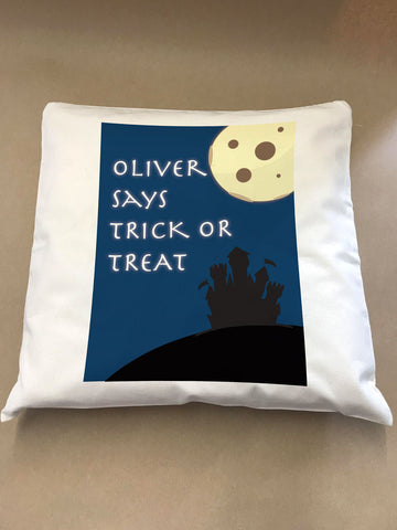 Full Moon Trick or Treat Personalised Halloween Canvas Cushion Cover
