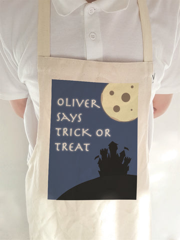 Full Moon Trick or Treat Personalised Halloween Aprons for Adult & Children of all ages