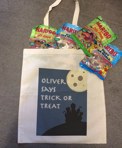 Full Moon Trick or Treat Personalised Halloween Canvas Bag for Trick or Treating