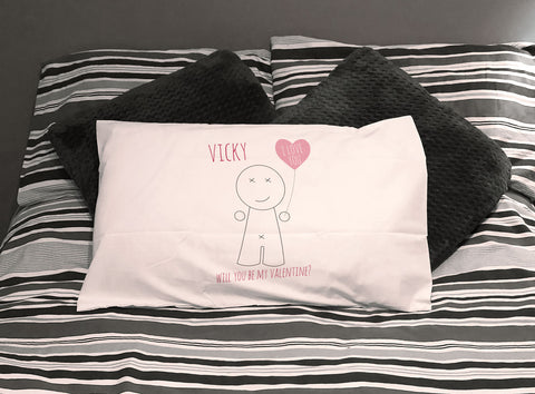 VA01 - Heart Man Valentine's Personalised White Pillow Case Cover