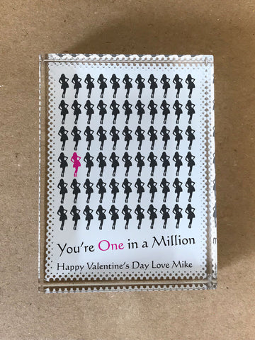 VA02 - You're One in a Million Love (Name) Valentine's Personalised Crystal Block