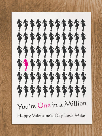 VA02 - You're One in a Million Love (Name) Valentine's Personalised Print.  Women's and Men's