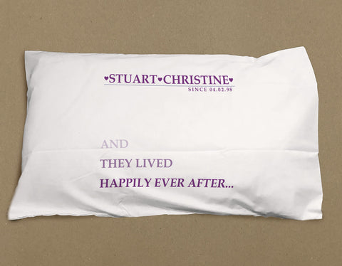 VA03 - They Lived Happily Ever After Personalised White Pillow Case Cover. Change the name to suit.
