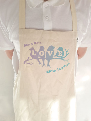 VA04 - Love Birds Sittin' in a Tree Personalised Apron