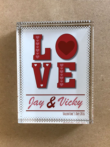 VA05 - Valentine's Love You Glass Crystal Block with Presentation Gift Box
